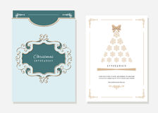Christmas template with laser cutting. Christmas party invitation and envelope template with laser cutting filigree oval frame. Emerald and white colors Royalty Free Stock Photo