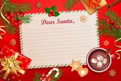 Christmas template for Letter to Santa Claus with traditional decorations-gift box with bow,candy cane,cocoa with marshmallows,. Spruce branch and gingerbread royalty free stock images