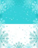 Christmas template, light blue and white background with snowfla Royalty Free Stock Image