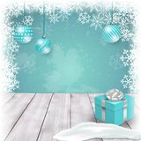 Christmas template with ornaments and gift box on table. Vector. Christmas blue holiday template with ornaments and gift box on table. Vector illustration. Mock stock illustration