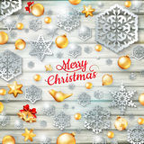 Christmas template with paper cutout. EPS 10 Royalty Free Stock Photos