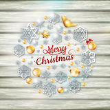 Christmas template with paper cutout. EPS 10 Stock Images