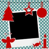 Christmas template with photo frame. And Christmas ornaments Stock Images