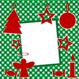 Christmas template with photo frame. And Christmas ornaments Stock Photos
