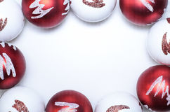 Christmas template with red and white balls royalty free stock photos