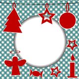 Christmas template with round frame. And Christmas ornaments Royalty Free Stock Image