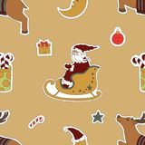 Christmas template. Santa Claus in a sleigh, reindeer and gifts. Royalty Free Stock Photo