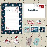 Christmas template set 2017-B letter, envelope templates scrapbook, stamps, stickers,. A set of Merry Christmas Santa cute letter, envelope templates scrapbook Stock Images