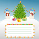 Christmas template with snowman and Christmas tree Royalty Free Stock Photos