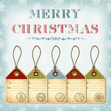 Christmas template of vintage tags with stamps Stock Photo
