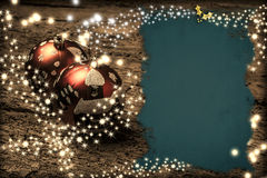 Christmas templates. Christmas balls on old wooden and blank parchment for photo or message stock photo