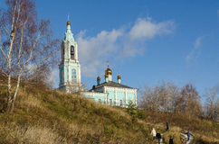 Christmas temple Blessed the Virgin on Krylatsky hills autumn. Orthodox Temple of Christmas Blessed the Virgin on Krylatsky hills in Moscow Royalty Free Stock Image