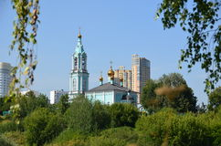 Christmas temple Blessed the Virgin on Krylatsky hills. Orthodox church. The church Nativity of the Blessed Virgin on Krylatsky hills in Moscow Stock Images