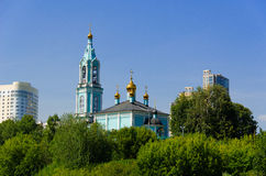 Christmas temple Blessed the Virgin on Krylatsky hills. Stock Images