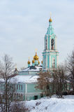 Christmas temple Blessed the Virgin on Krylatsky hills in winter. Orthodox church. The church Nativity of the Blessed Virgin on Krylatsky hills in Moscow Stock Photo