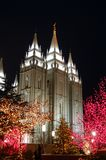Christmas in temple square 6. The salt lake city square temple, downtown salk lake city,built by settlers, almost mormon, it take 40 years to build . 1853-1893 stock image