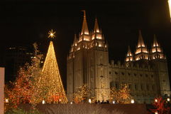 Christmas in temple square. THE SALT LAKE CITY ON TEMPLE square , DOWNTOWN SALT LAKE CITY,BUILT BY THE SETLERS , ALLMOST MORMON. IT TAKE 40 YEARS TO BUILD. 1853 stock images