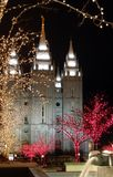 Christmas in temple square 8. The salt lake city temple square, downtown salt lake city,built by settlers, almost mormon, it take 40 years to build . 1853-1893 royalty free stock photo