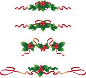 Christmas text dividers 2. Christmas text dividers with holy berries and red ribbons Stock Photo