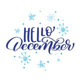 Christmas text Hello December on background of snowflakes. Vector illustration Print Design.  Stock Image