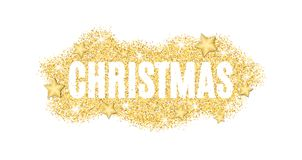 Christmas text made of golden particles on a white background. Gold glitter. Christmas lights. Christmas golden background for ban Stock Photography