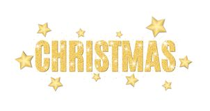 Christmas text made of golden particles on a white background. Gold glitter. Christmas lights. Christmas golden background for ban Stock Image