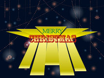Christmas text over decorated glowing background. Merry Christmas Text Over 3D Yellow Stripes on Decorated Glowing Background Stock Photos