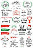 Christmas text overlays, vector set Stock Images