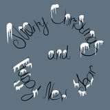 Christmas text under the snow. Vector illustration of christmas text under the snow on grey background Royalty Free Stock Photos