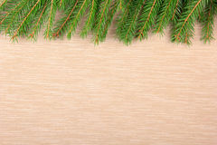 Christmas textile background with snow fir tree. Top view, space for your text. Christmas background with snow fir tree Royalty Free Stock Images