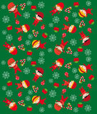 Christmas texture. Texture with children and christmas elements on green background