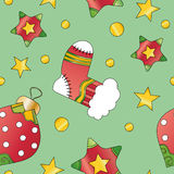 Christmas texture with bauble, star and stocking Royalty Free Stock Image