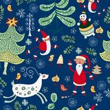 Christmas  texture with cute  Santa, deer Stock Image