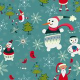 Christmas  texture with cute  Santa deer, snowman. The bright winter seamless pattern Royalty Free Stock Photo
