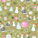 Christmas texture with gulls Royalty Free Stock Images