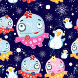 Christmas texture with monsters and penguins. Bright seamless Christmas pattern with monsters and penguins on a dark blue background with snowflakes royalty free illustration