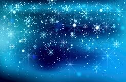 Beautiful Blue Christmas Background With Snow, Snowflakes And Bokeh Effect With Lights.