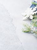 Christmas textured background with fir tree snow branches Stock Photo