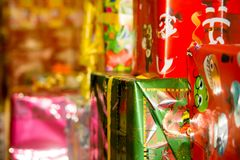 Christmas Textured Packages. During Christmas Period Royalty Free Stock Photography