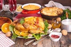 Christmas or thanksgiving dinner Stock Photo
