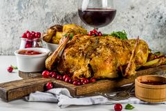 Christmas, thanksgiving food, baked roasted chicken with cranber. Ry and herbs, served with fried vegetables, fresh berries wine and sauces on white marble table royalty free stock photos