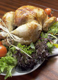 Christmas or Thanksgiving roast chicken turkey dinner - Vertical. Platter of delicious roast chicken turkey with salad greens and red tomatoes on the vine for a Stock Image