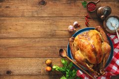 Christmas or Thanksgiving turkey. On rustic wooden table