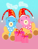 Christmas theme. Christmas seamless pattern with cute teddy Stock Photo