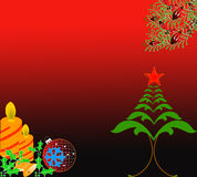 Christmas theme. Christmas holiday background with tree, candles,holly leaves, ball Stock Photos