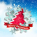 Christmas theme, abstract tree and snowflakes Royalty Free Stock Photography