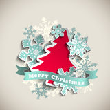 Christmas theme, abstract tree and snowflakes Royalty Free Stock Photo