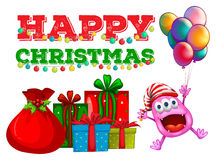 Christmas theme with alien and balloons Stock Images