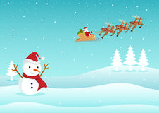 Christmas Theme And Background. Cartoon illustration of a snowman and Santa Claus Stock Images