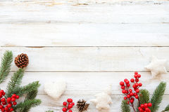 Christmas theme background with decorating elements and ornament rustic on white wood table Royalty Free Stock Images